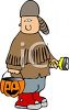 Boy Dressed Up Like a Frontiersman for Halloween clipart