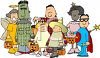 Kids Dressed Up for Halloween in Costumes clipart