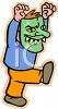 Cartoon of a Boy Wearing a Monster Mask for Halloween clipart