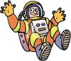 Astronaut floating in the weightlessness of space clipart