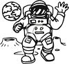 Astronaut in spacesuit walking on the moon clipart