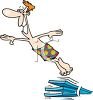 Happy Guy Jumping Off a Diving Board clipart