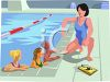 Swim Coach Giving Swimming Lessons clipart