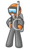Orange Man Character Wearing Scuba Diving Equipment clipart