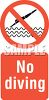 No Diving Warming Sign clipart
