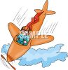 Cartoon of a Plane in a Nose Dive clipart