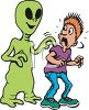 Cartoon of an Alien Tapping a Kid on the Shoulder Scaring Him clipart