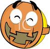 Smiley Character Wearing a Pumpkin Mask for Halloween clipart
