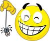 Smiley Character Playing with a Spider clipart