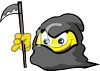 Smiley Character Dressed Up Like a Grim Reaper for Halloween clipart