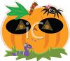 Cute Pumpkin with a Spider and a Worm clipart