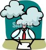 Person with head in a fog clipart