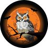 Owl in a tree on Halloween with a full moon and vampire bats clipart