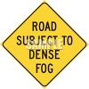 Road sign - dense fog ahead - low visibilty and bad weather clipart