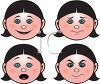 Girl showing various moods such as happiness, stubborness, surprise and anger clipart