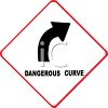 Dangerous Curve Warning Road Sign clipart