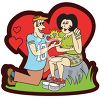 Man down on his knees proposing to a woman clipart