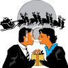 Couple exchanging Christmas gifts clipart