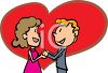Boy and girl in love holding hands in front of a big heart symbolizing their love clipart
