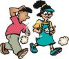 Boy and Girl Walking with a Compass to Guide Them clipart