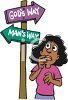 Christian Cartoon of a Woman at a Crossroads Between God's Way and Man's Way clipart