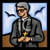 Catholic Priest Holding a Cross clipart