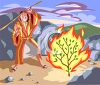 Moses in the Desert with the Burning Bush clipart