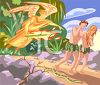 Adam and Eve Being Cast Out of the Garden of Eden by the Archangel Micheal clipart