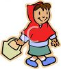 Little Red Riding Hood Holding Her Basket for Grandma clipart