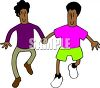 Two gay black men holding hands and walking together clipart