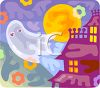 Halloween Ghost Flying Out of a Haunted House clipart