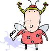 Cute Little Girl Wearing a Ladybug Costume for Halloween clipart