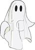 Child wearing a a sheet as a ghost Halloween costume clipart
