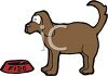 "Upset dog named ""Fido"" at empty food bowl clipart"