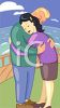 A man hugging a woman while standing on a balcony overlooking the ocean clipart