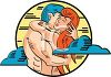 A nude couple engaging in passionate foreplay clipart