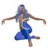A sexy topless woman with blue hair and skin tight pants clipart