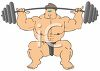 Athlete with Muscles Lifting Barbells or Weights Over His Head clipart