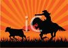 Cowboy riding a horse on a roundup - roping a calf clipart