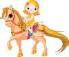 Little girl riding a pony clipart