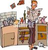 Man Standing in a Messy Kitchen clipart