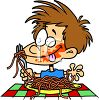 Cartoon of a Boy Eating Spaghetti with Sauce All Over His Face clipart