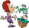Cartoon of a Blender Spilling All Over a Woman clipart