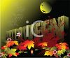 Halloween Background with a Full Moon and Bats clipart