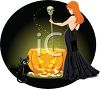 Sexy Red Haired Witch Stirring Her Cauldron with Her Black Cat Sitting Nearby clipart
