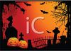 Halloween Background of a Graveyard with Jack O' Lanterns and Bats clipart