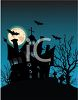 Haunted House Silhouette with a Graveyard and Dead Trees clipart