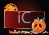 Halloween Background with a Blank Sign and a Pumpkin Full of Trick or Treat Candy clipart