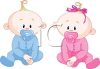 Fraternal Twins-A Boy Baby and a Girl Baby clipart
