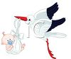 Stork Bringing a Special Delivery of a Newborn Baby clipart